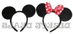 2 pcs Minnie Mickey Mouse Ears Headbands Black Red Polka Dot
