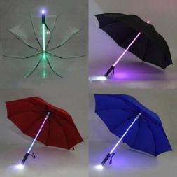 7 Color LED Windproof Umbrella Lightsaber Light Up Changing
