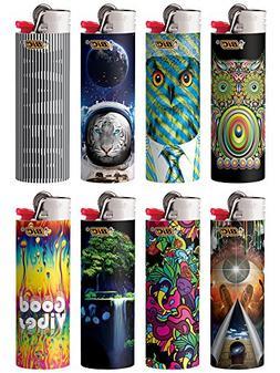 8 Bic Lighters Prismatic Multicolor Swirling Pattern Owl Tig