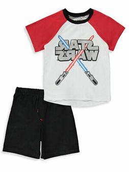 Star Wars Boys' Lightsaber Logo Cross 2-Piece Shorts Set Out