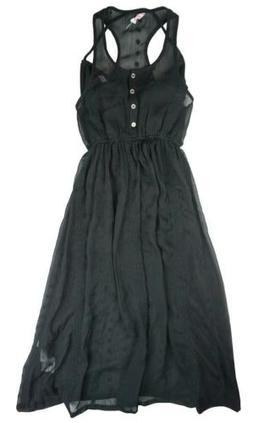 Girls Long Maxi Black Chiffon Lace Sleeveless Dress black 8