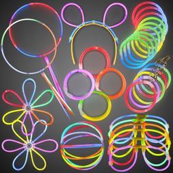 Glow Stick Party Favor Pack- Bulk Glow Bracelets in Assorted