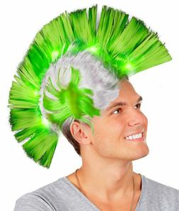 Fun Central Green LED Light Up Mohawk Wig