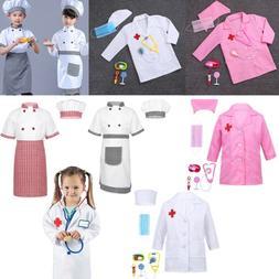 Kids Boys Girl Doctor Nurse Coat&Cook Chef Fancy Dress Cospl