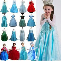 Kid Girl Elsa Queen Anna Princess Dress Up Cosplay Fancy Par