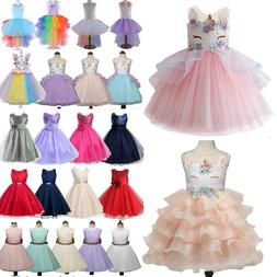 Kids Girls Tulle Tutu Unicorn Formal Party Wedding Bridesmai