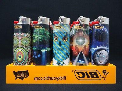 8 Bic Lighters Multicolor Swirling Owl Tiger