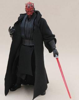 """MY-R-DM: Black Fabric Sith Cloak Robe for 6"""" Star Wars Darth"""