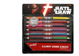 NEW STAR WARS DOUBLE SIDED LIGHTSABER PENCILS DRAWING & COLO