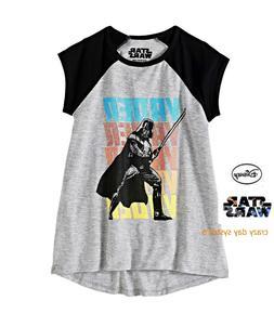 NEW Star Wars Girls Darth Vader Light Saber Raglan Hi-Low Te