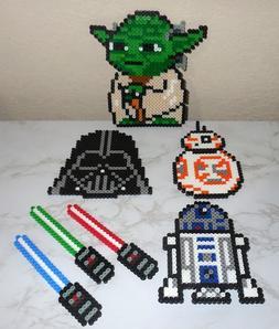 :: Handmade Perler Bead Art ~ STAR WARS Yoda Darth Vader BB-