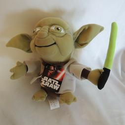 Star Wars Yoda Plush Stuffed Collectible Toy With Light Sabe