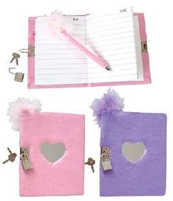 Teen Locking Diary Girl's Plush Heart Journal With Mirror Fe
