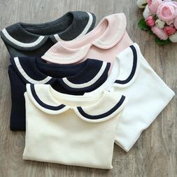 Toddler Girls' Peter Pan Collar Polo Shirt Blouse Long Sle