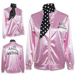 Women Autumn Zipper Danny Ladies Satin Jacket Costume with P